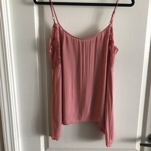Pink Free People Open Back Silk Lace Tank, Size S